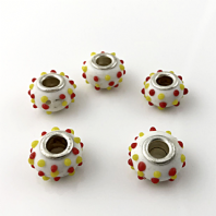 10 Lampwork Glass 14x9mm European Charm Beads White